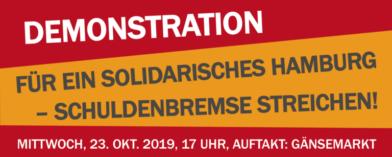 Demonstration: Für ein solidarisches Hamburg – Schuldenbremse streichen! @ Gänsemarkt Hamburg